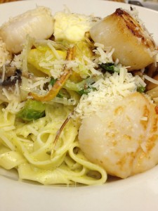 Caramelized Sea Scallops with fettuccine